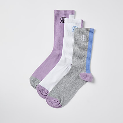 Purple 'RIR' tube socks 3 pack