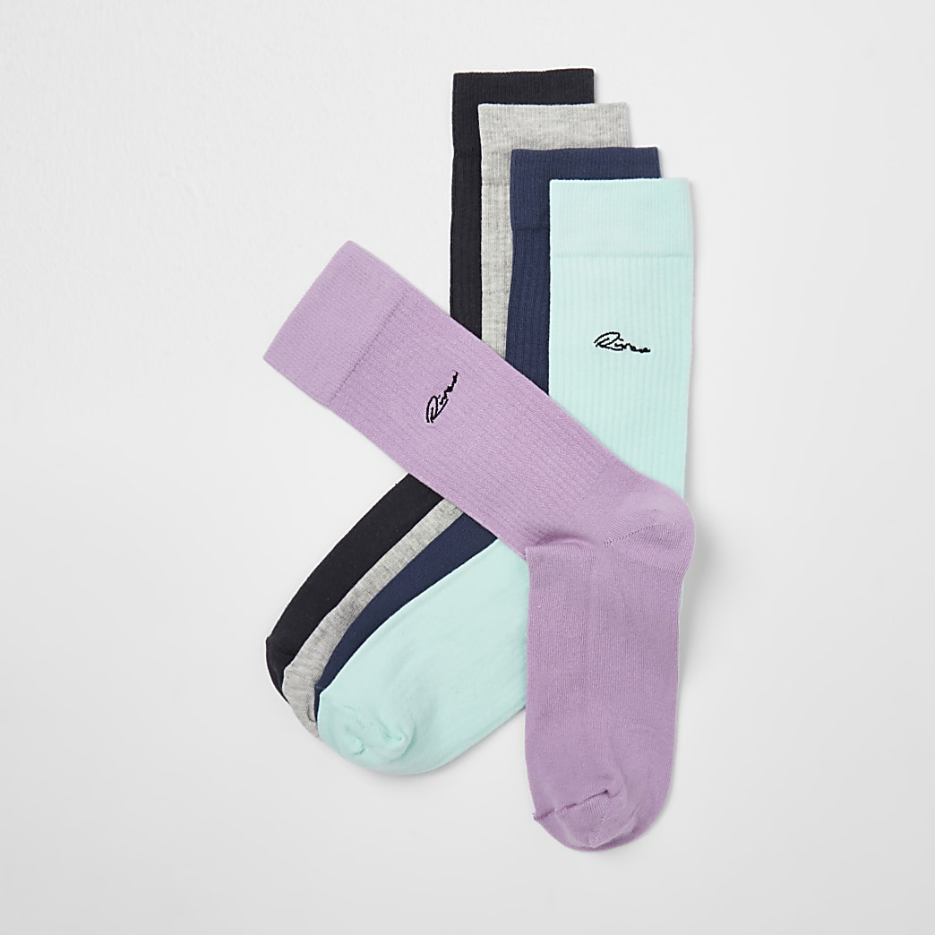 Purple River embroidered socks 5 pack
