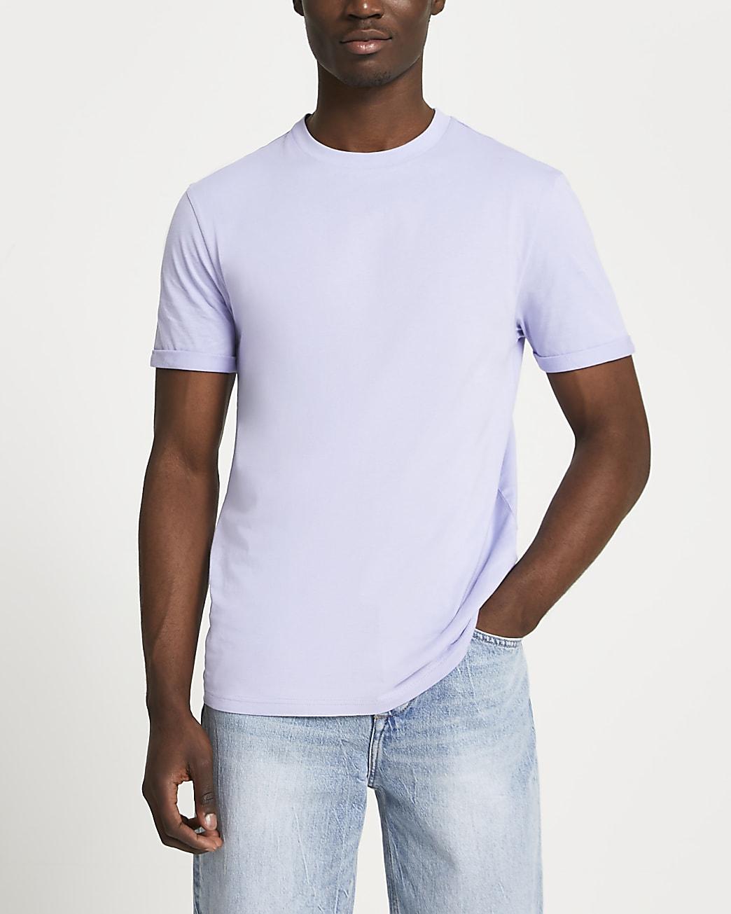Purple rolled sleeve slim fit t-shirt