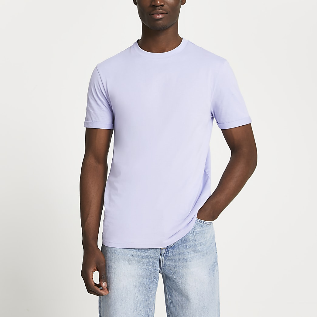 Purple rolled sleeve slim fit t-shirt