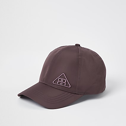 Purple rubber triangle logo nylon cap