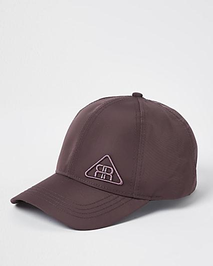 Purple rubber triangle logo nylon cap