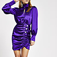 Purple ruched diamante button satin dress