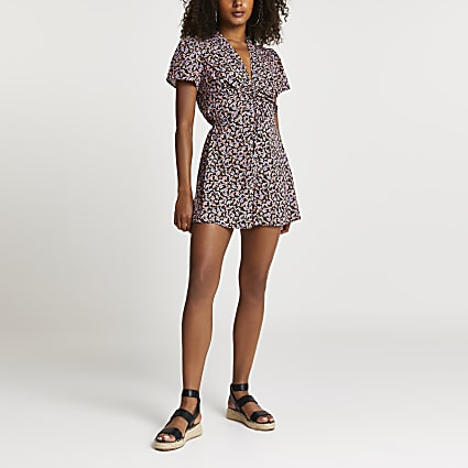 Purple ruched front floral playsuit