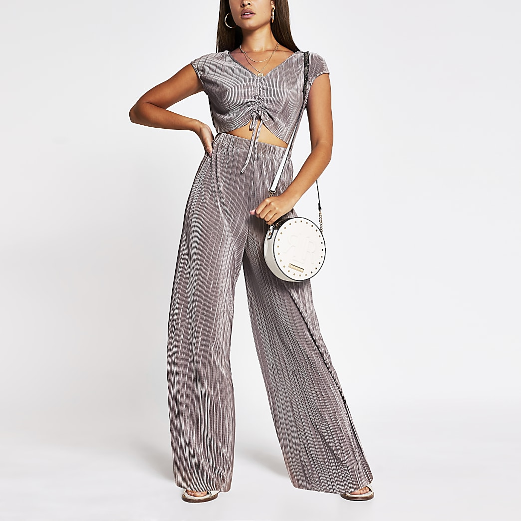 Purple ruched front jumpsuit