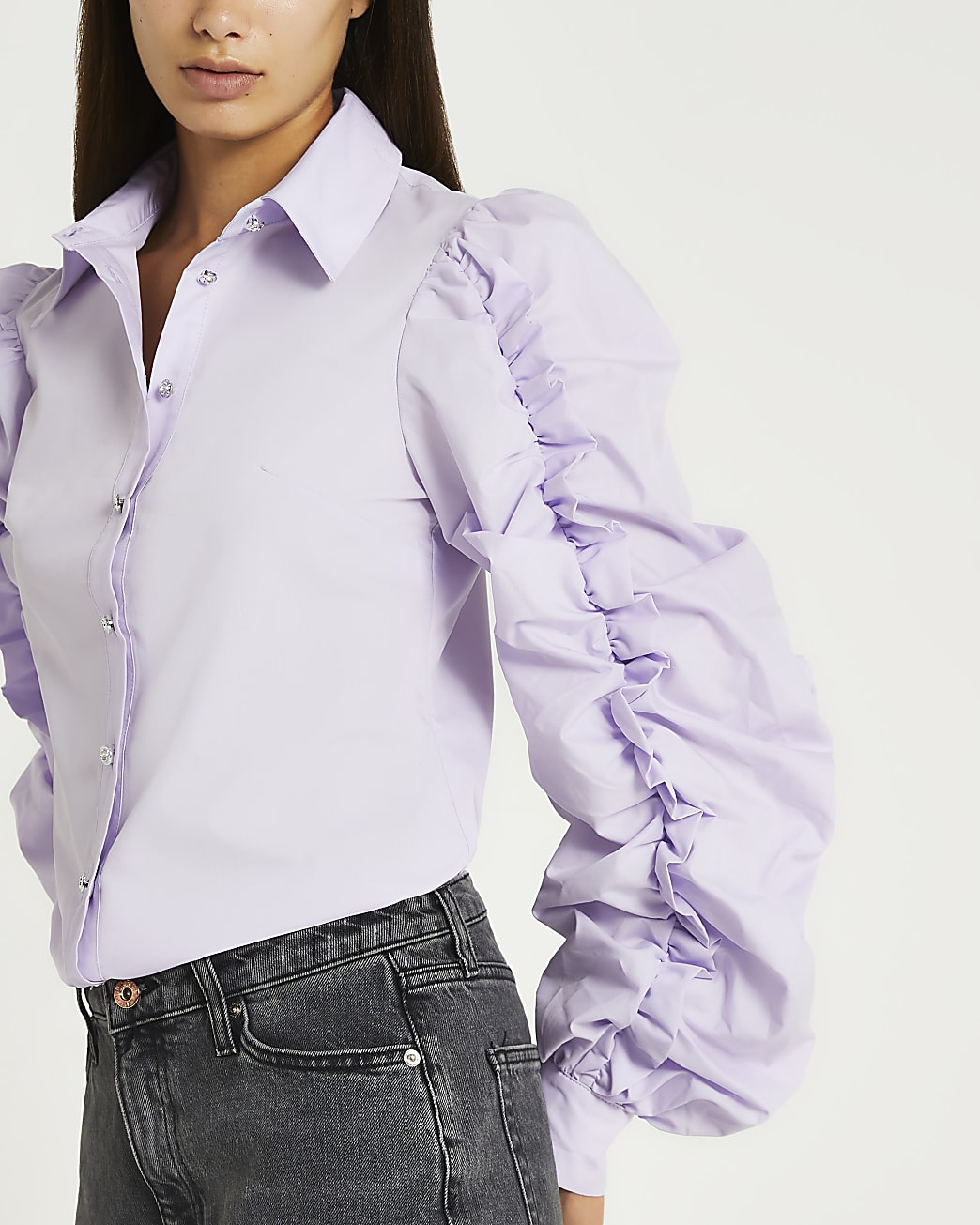 Purple ruched long sleeve shirt