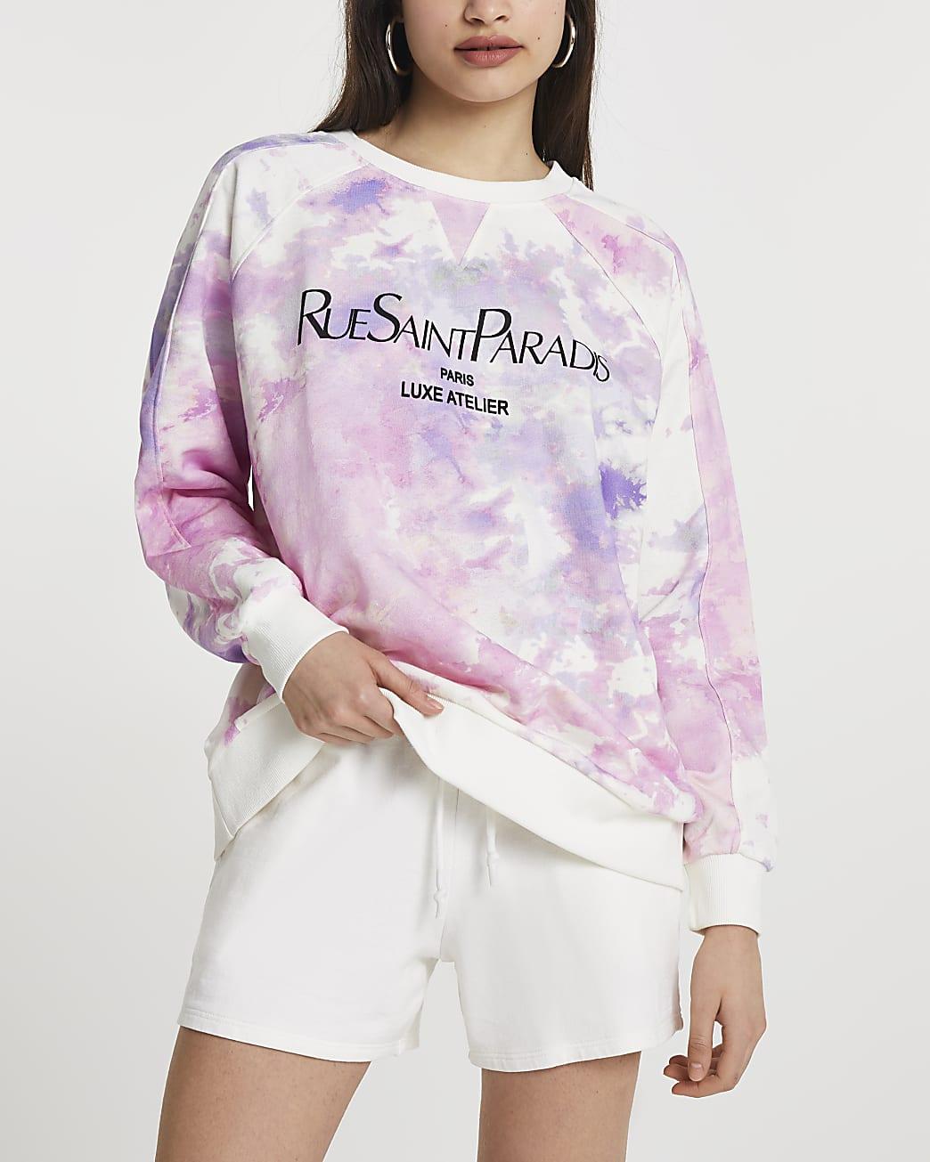 Purple 'Rue Saint Paradis' tie dye sweatshirt