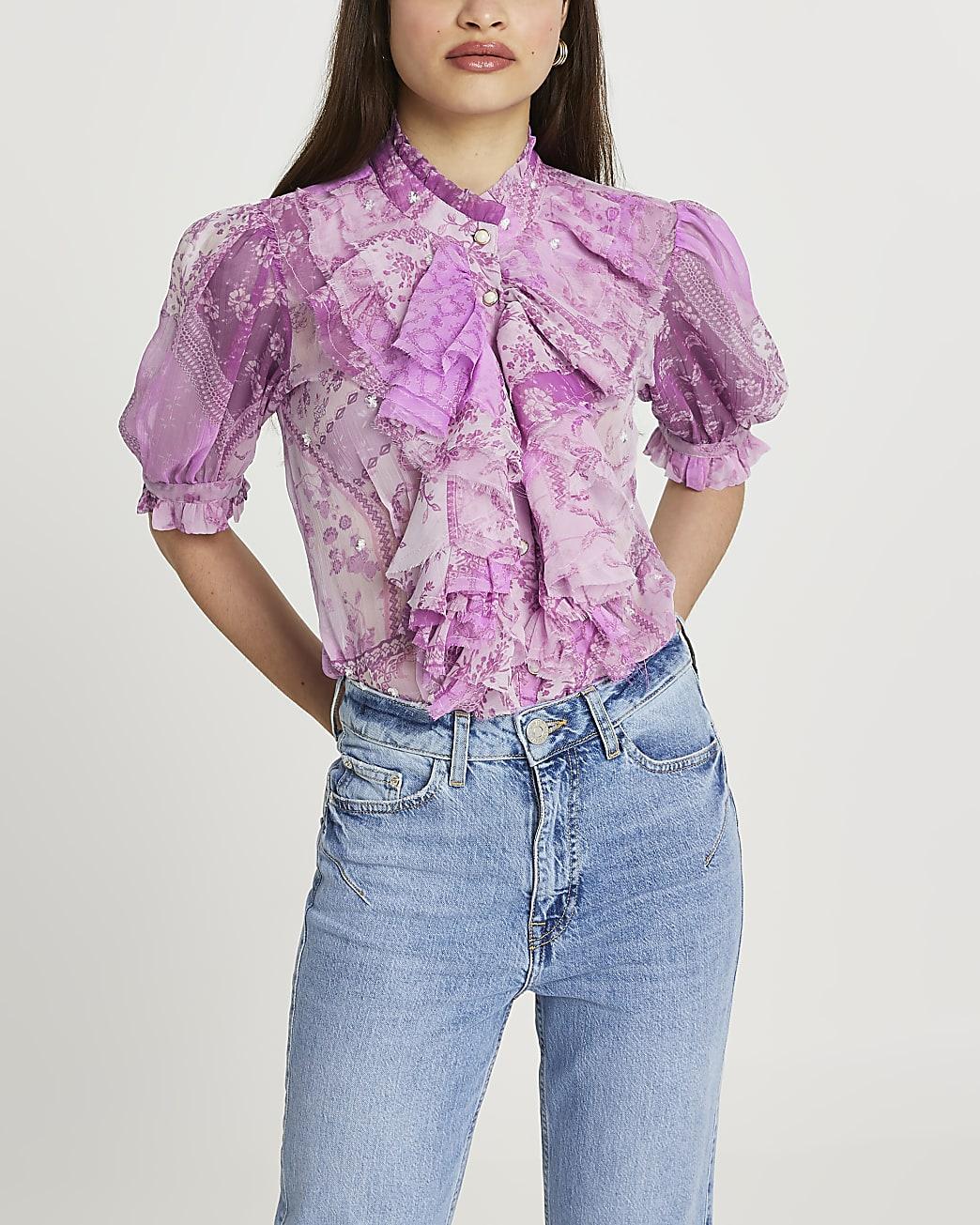 Purple ruffle embellished blouse top