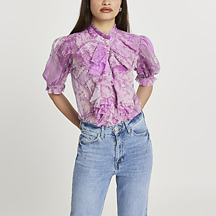 Purple ruffle embellished blouse top