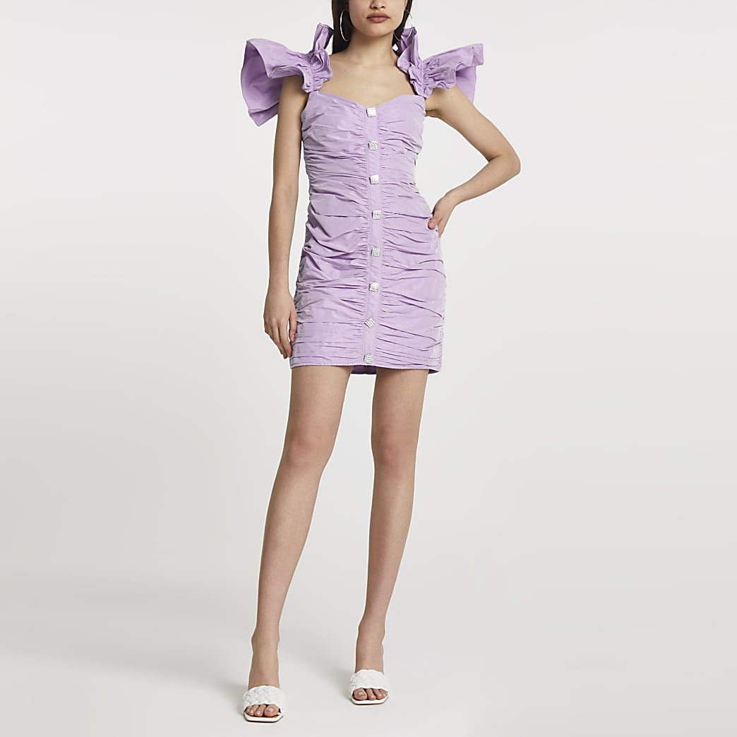 Purple ruffle sleeve ruched mini dress
