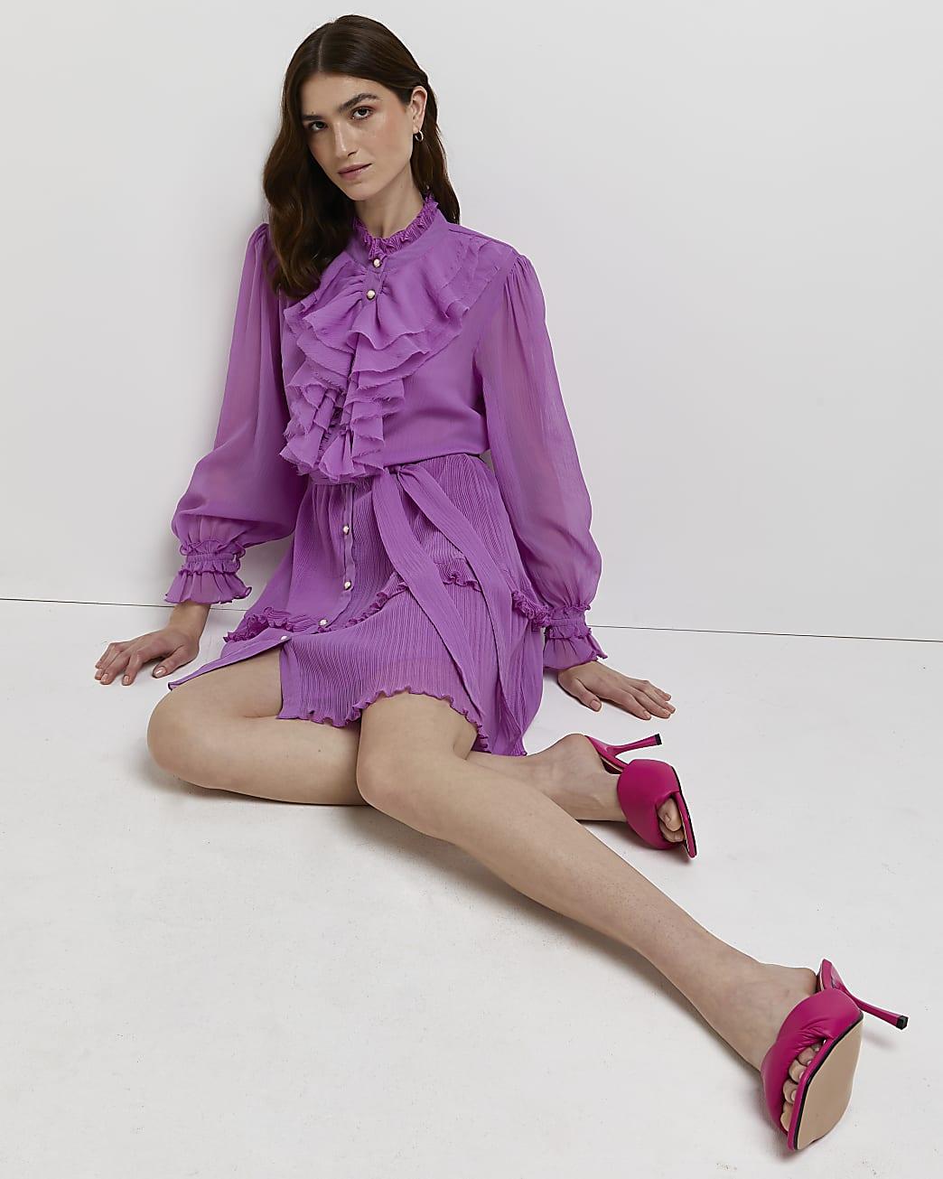 Purple ruffled mini dress