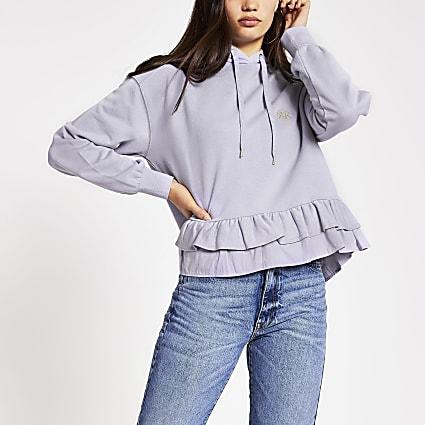 Purple RVR frill hem hoodie