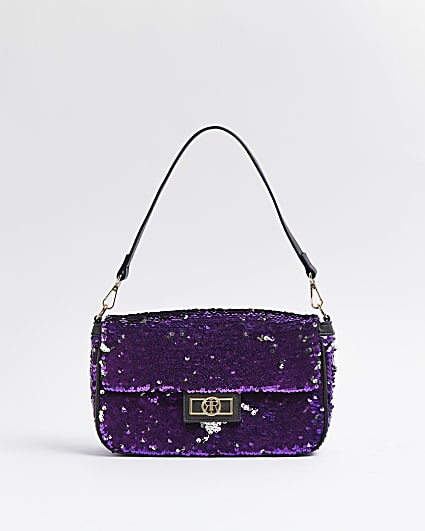 Purple sequin shoulder bag