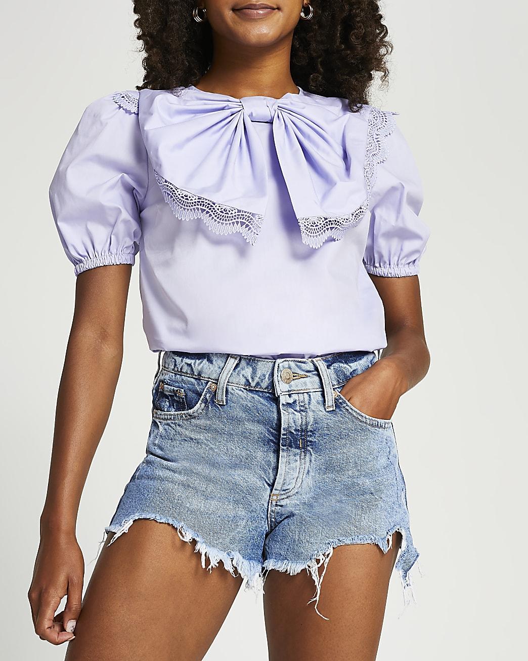Purple short sleeve bow puff sleeve top