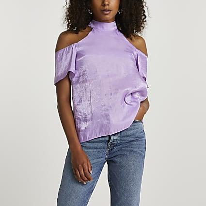 Purple short sleeve cold shoulder halter top