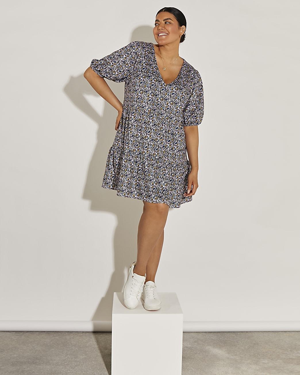 Purple short sleeve floral smock dress