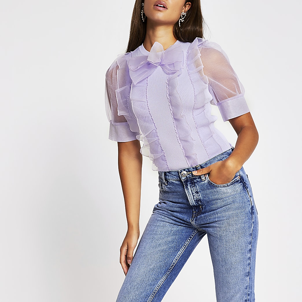 Purple short sleeve organza bow top