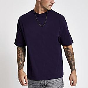 Paars oversized-fit T-shirt met korte mouwen