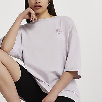 Purple short sleeve oversized t-shi