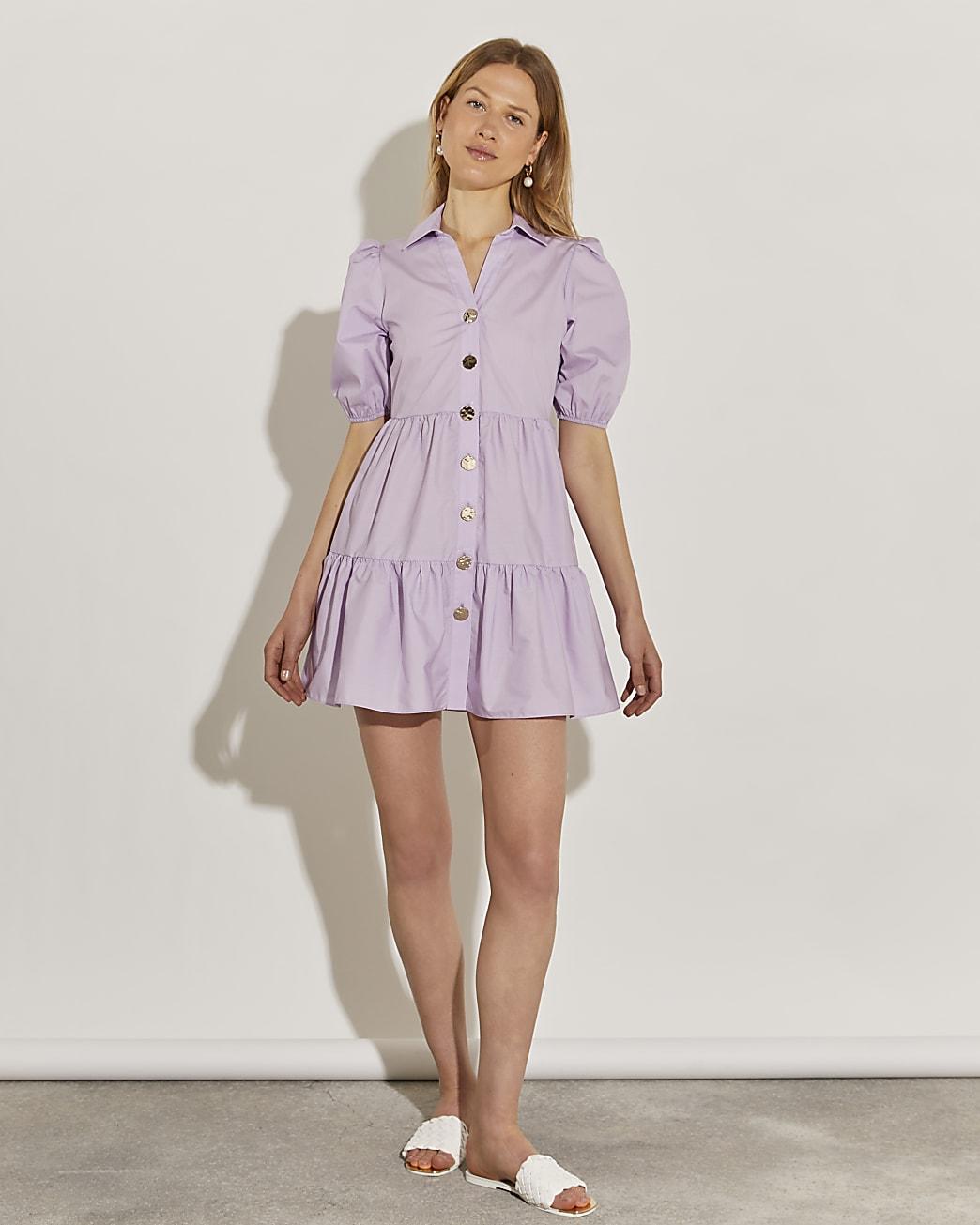 Purple short sleeve tiered shirt dress