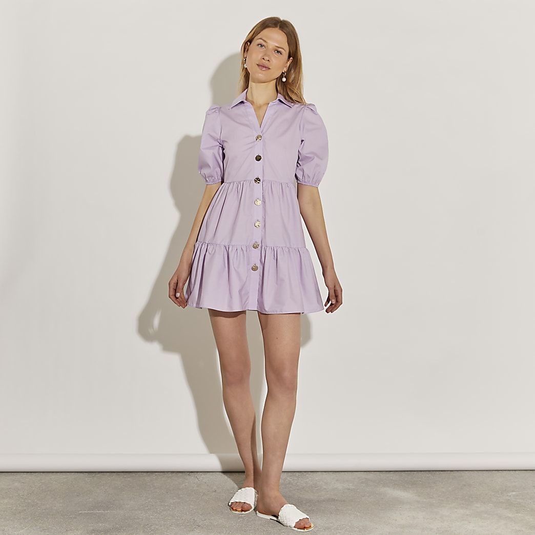 Purple short sleeve tiered shirt dress