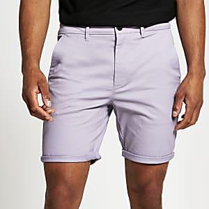 Purple skinny chino short