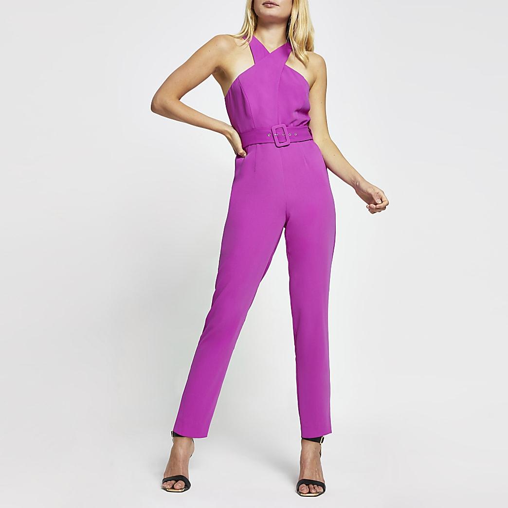 Purple sleeveless wrap neck jumpsuit