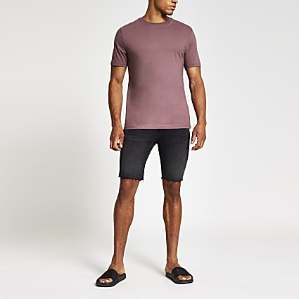 Purple slim fit crew neck T-shirt
