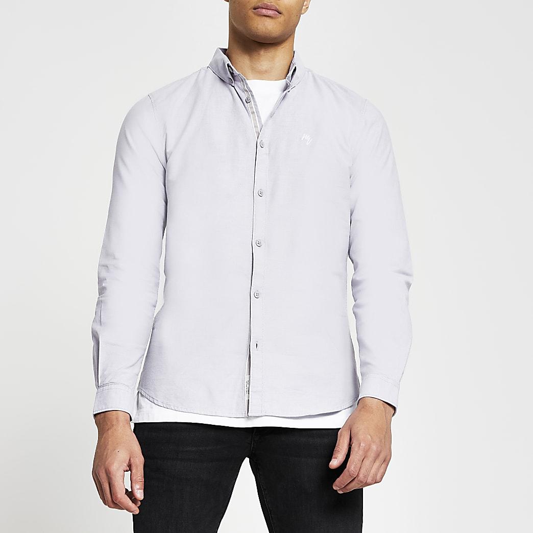 Purple slim fit long sleeve oxford shirt