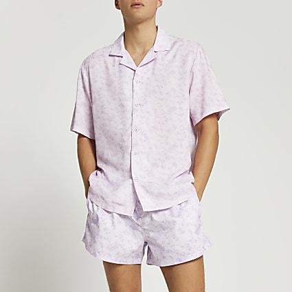 Purple slim fit shirt and short set