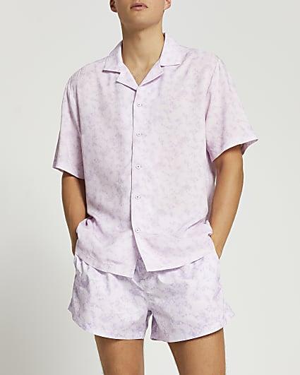 Purple slim fit shirt and swim short set