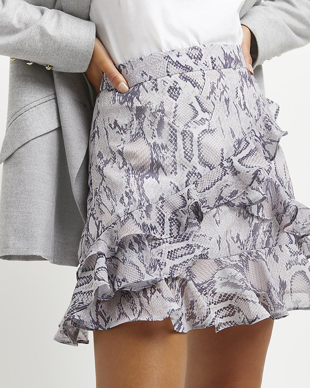 Purple snake print mini skirt