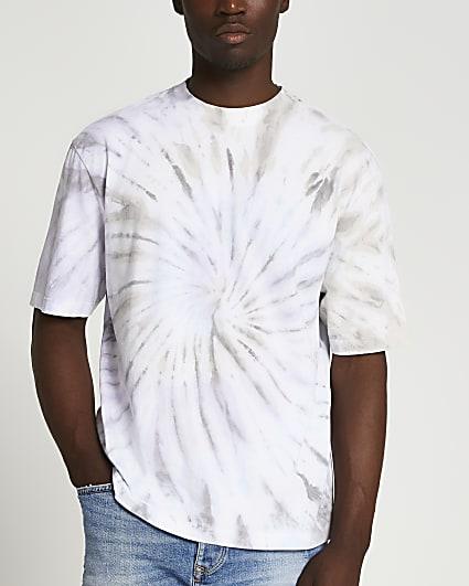 Purple spiral tie dye oversized fit t-shirt