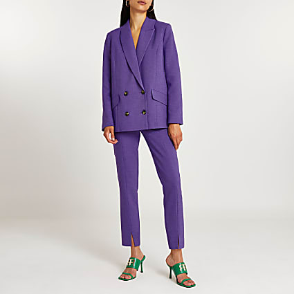 Purple split front cigarette trousers