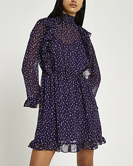 Purple spot print ruffled dress