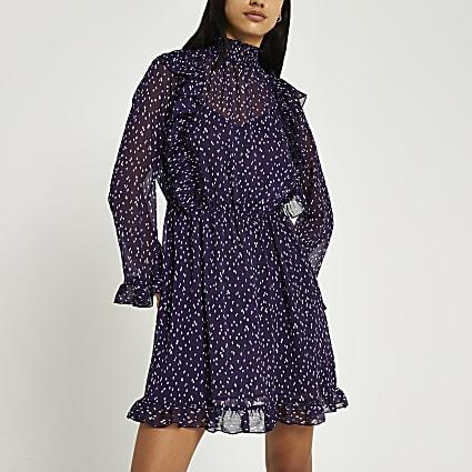 Purple spot print waisted ruffle dress