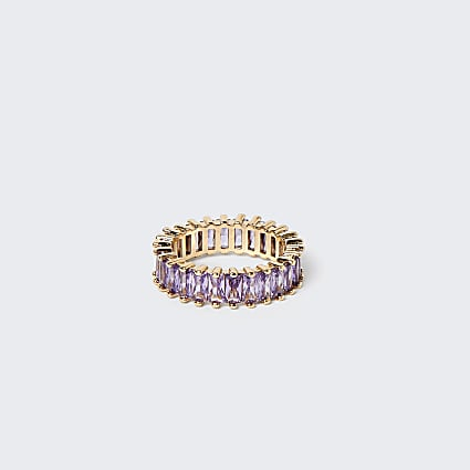 Purple stone baguette ring