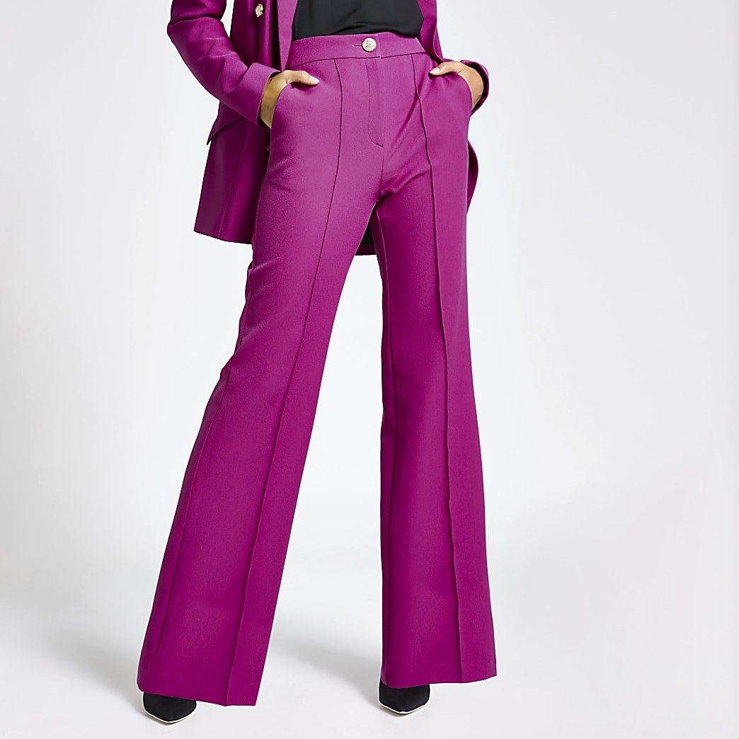 Purple structured flare trousers