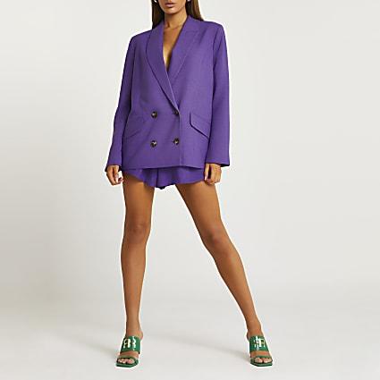 Purple structured shorts