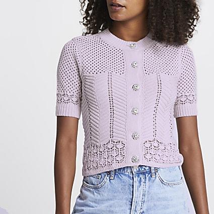 Purple summer stitch cardigan