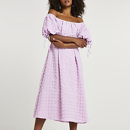 Purple textured bardot midi dress