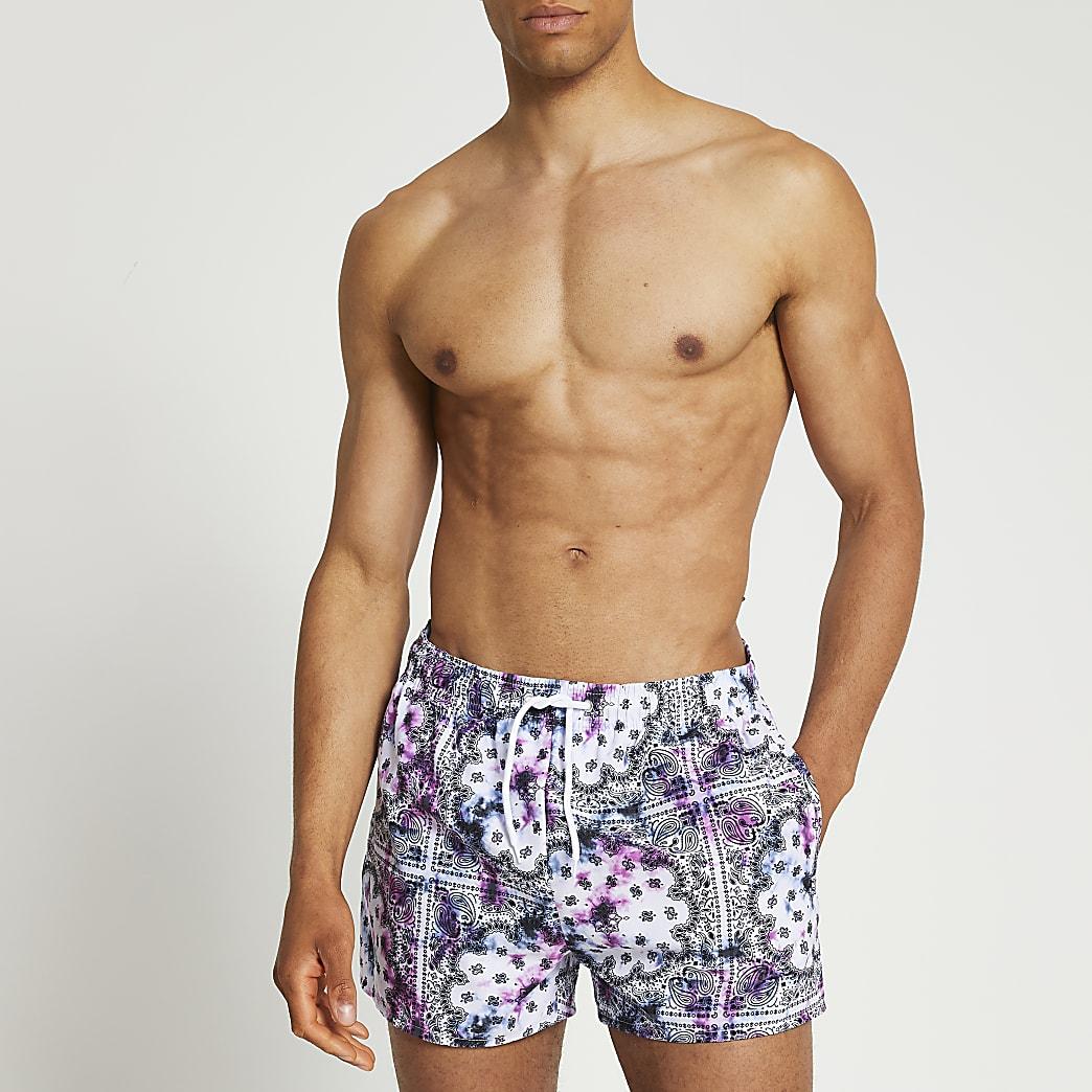 Purple tie dye bandana print swim short