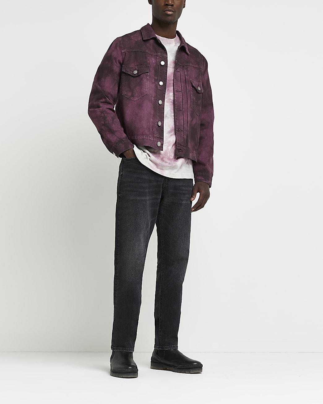 Purple tie dye denim jacket