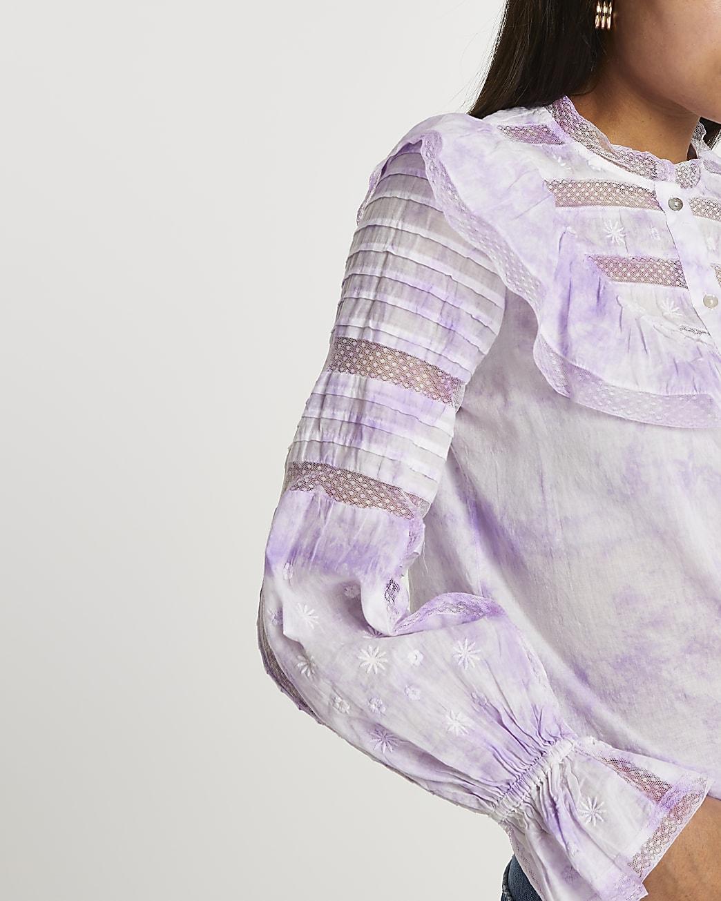 Purple tie dye long sleeve blouse top