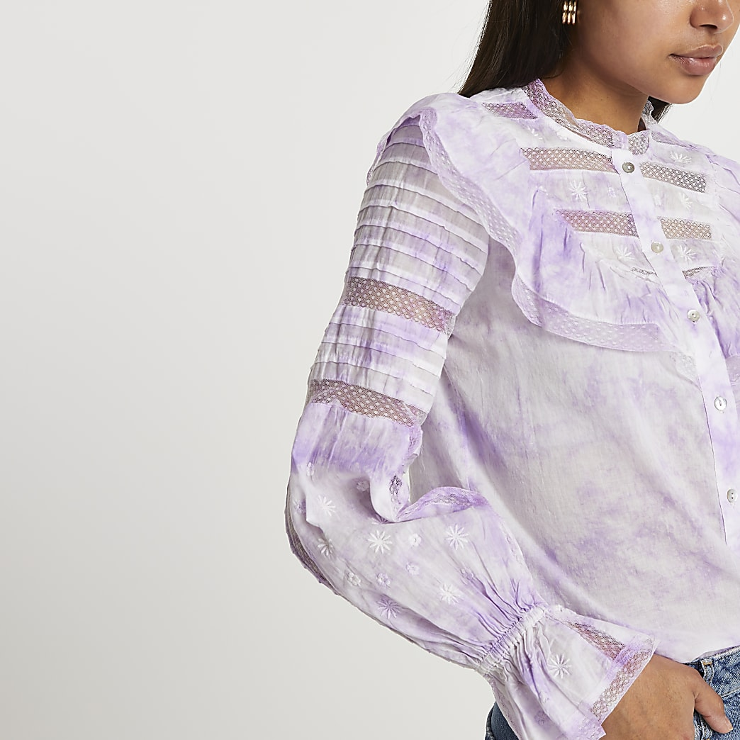 Purple tie dye long sleeve blouse top