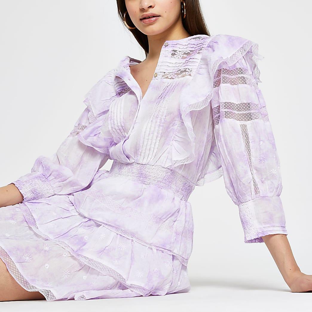 Purple tie dye ruffle long sleeve dress