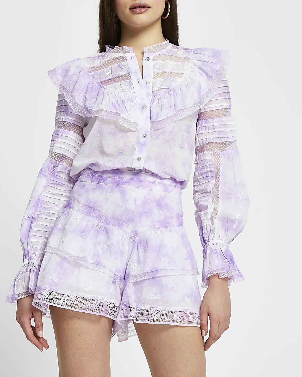 Purple tie dye ruffle shorts