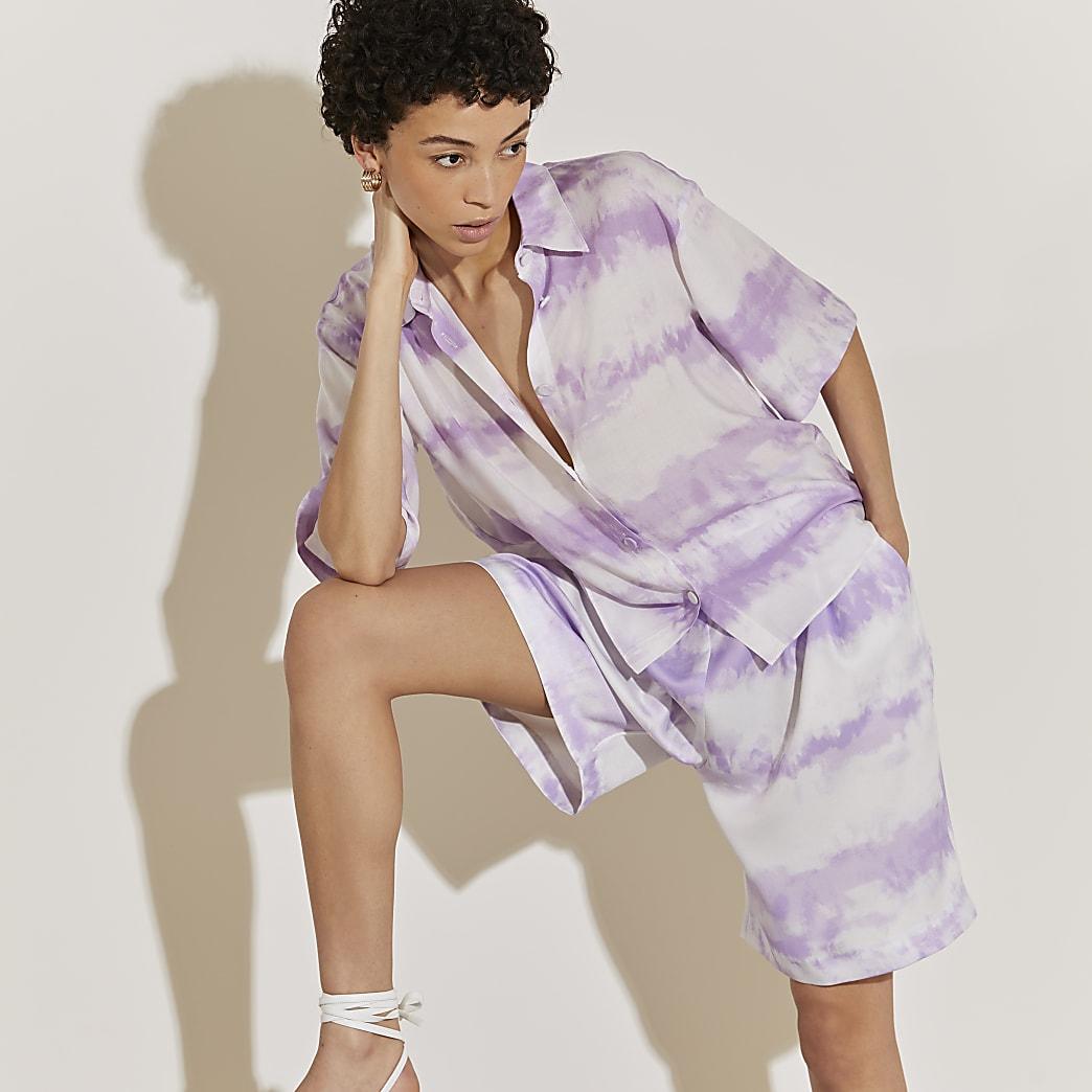 Purple tie dye short sleeve shirt