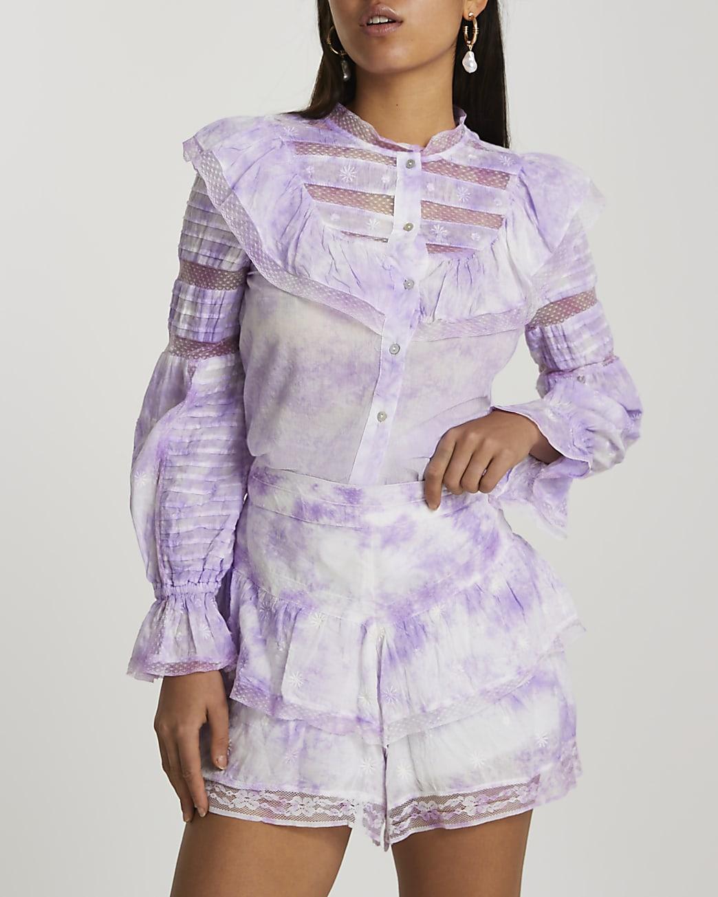 Purple tie dye shorts