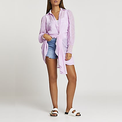Purple twist front shirt dress